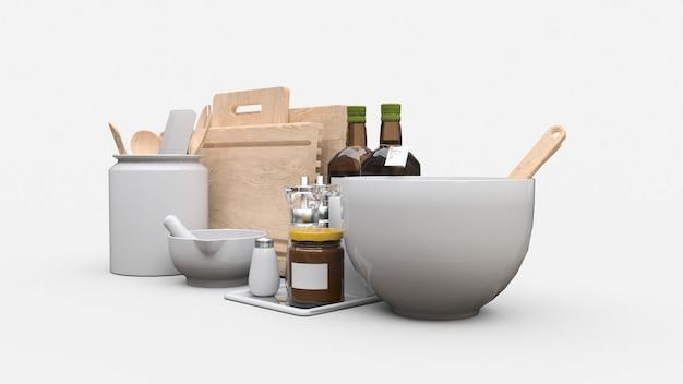 Ustensiles de cuisine, huile et conserves de légumes dans un bocal sur fond blanc. rendu 3d.