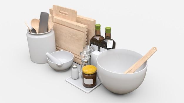 Ustensiles de cuisine, huile et conserves de légumes dans un bocal sur fond blanc
