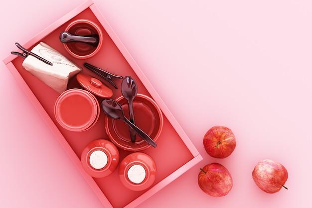Ustensiles de cuisine sur le rendu 3d rose