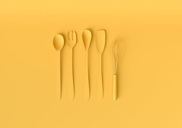 Ustensiles de cuisine sertis de couleur jaune pastel. concept minimal rendu 3d.