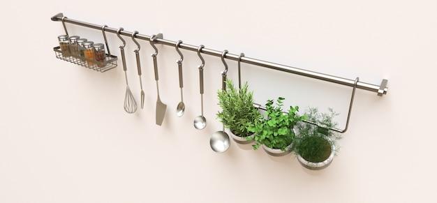 Les ustensiles de cuisine, le vrac sec et les assaisonnements vivants en pots sont suspendus au mur