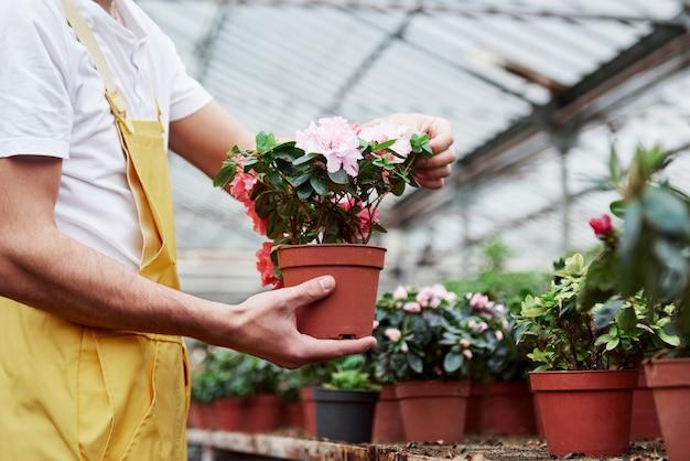 Usure de travail. ouvrier de serre tenant le vase avec des fleurs.