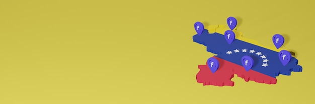 Utilisation et distribution des médias sociaux facebook au venezuela pour des infographies en rendu 3d