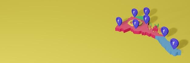 Utilisation et distribution des médias sociaux facebook en érythrée pour des infographies en rendu 3d
