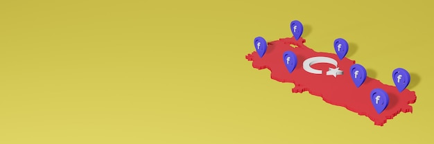 Utilisation et distribution des médias sociaux facebook en turquie pour des infographies en rendu 3d