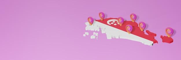 Utilisation des médias sociaux et d'instagram dans les infographies de singapour dans le rendu 3d