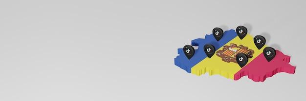 Utilisation des médias sociaux et de tik tok à andora pour des infographies en rendu 3d