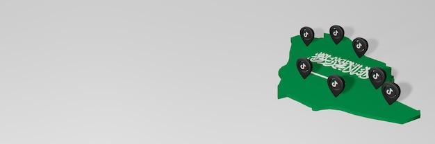Utilisation des médias sociaux et de tik tok en arabe pour des infographies en rendu 3d