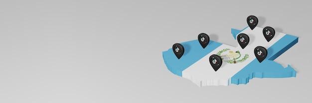 Utilisation des médias sociaux et de tik tok au guatemala pour des infographies en rendu 3d