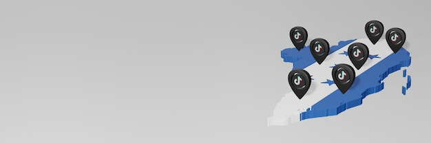 Utilisation des médias sociaux et de tik tok au honduras pour des infographies en rendu 3d