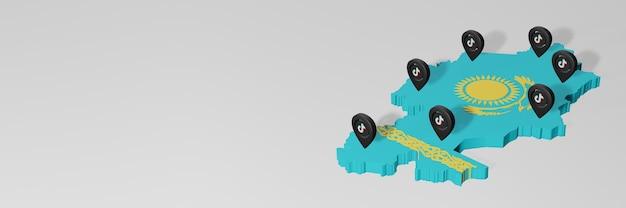 Utilisation des médias sociaux et de tik tok au kazakhstan pour des infographies en rendu 3d