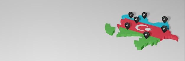 Utilisation des médias sociaux et de tik tok en azerbaïdjan pour des infographies en rendu 3d
