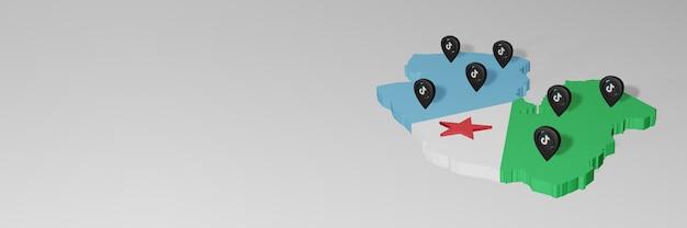 Utilisation des médias sociaux et de tik tok à djibouti pour des infographies en rendu 3d