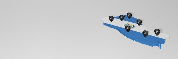 Utilisation des médias sociaux et de tik tok à el savador pour des infographies en rendu 3d