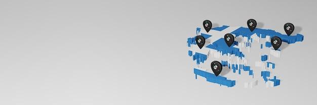 Utilisation des médias sociaux et de tik tok en grèce pour des infographies en rendu 3d