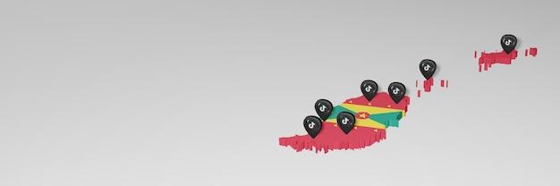 Utilisation des médias sociaux et de tik tok à grenade pour des infographies en rendu 3d