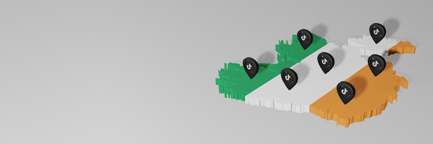 Utilisation des médias sociaux et de tik tok en irlande pour des infographies en rendu 3d