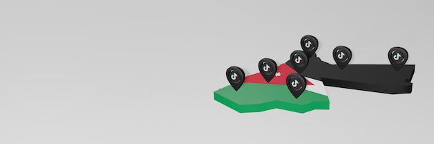 Utilisation des médias sociaux et de tik tok en jordanie pour des infographies en rendu 3d