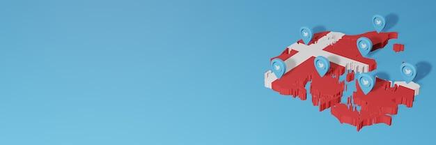 Utilisation des médias sociaux et de twitter au danemark pour des infographies en rendu 3d