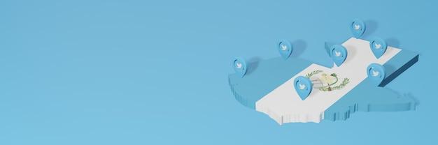 Utilisation des médias sociaux et de twitter au guatemala pour des infographies en rendu 3d