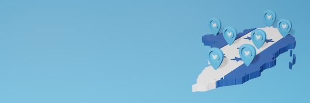 Utilisation des médias sociaux et de twitter au honduras pour des infographies en rendu 3d