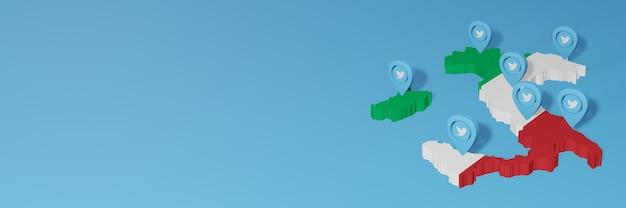 Utilisation des médias sociaux et de twitter en italie pour des infographies en rendu 3d