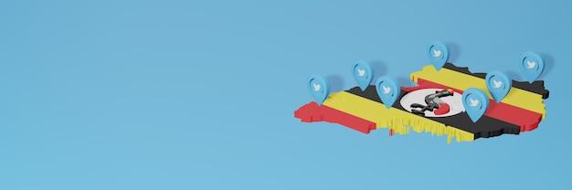 Utilisation des médias sociaux et de twitter en ouganda pour des infographies en rendu 3d