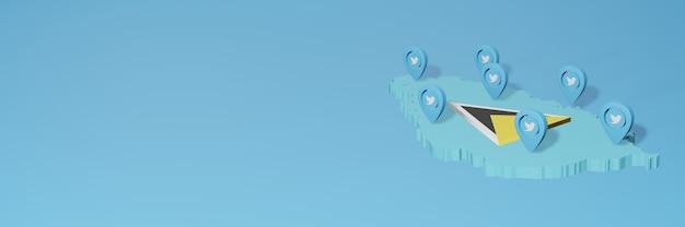 Utilisation des médias sociaux et de twitter à sainte-lucie pour des infographies en rendu 3d