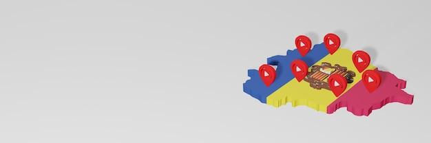 Utilisation des médias sociaux et de youtube à andora pour des infographies en rendu 3d