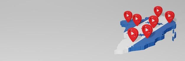 Utilisation des médias sociaux et de youtube au honduras pour des infographies en rendu 3d
