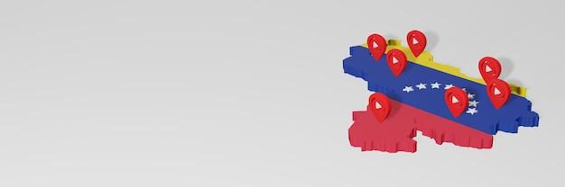 Utilisation des médias sociaux et de youtube au venezuela pour des infographies en rendu 3d