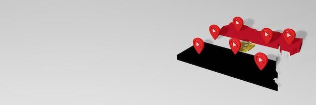 Utilisation des médias sociaux et de youtube en egypte pour des infographies en rendu 3d