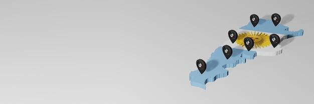 Utilisation des réseaux sociaux et tik tok en argentine pour des infographies en rendu 3d