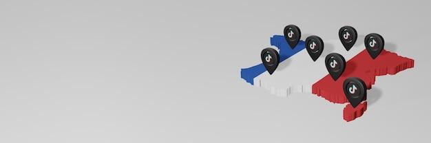 Utilisation des réseaux sociaux et tik tok en france pour des infographies en rendu 3d