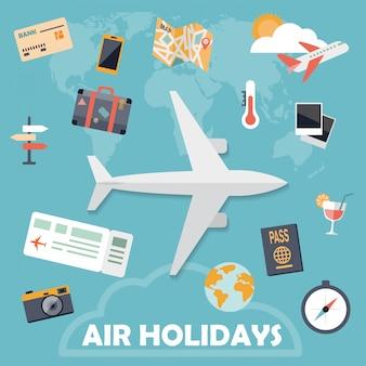 Vacances aériennes icônes plats