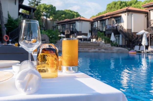 Vacances à la table de l'hôtel mettant des verres vides sur le fond de la piscine et des villas de la...