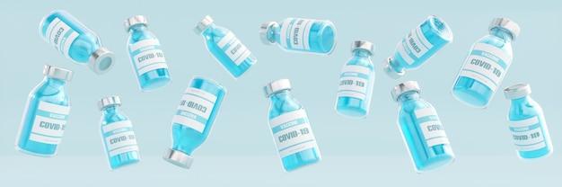 Vaccin contre le coronavirus de rendu 3d en ampoules sur bannière de fond bleu