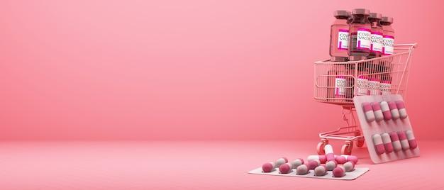 Vaccin et médicament covid-19 dans le panier sur fond rose. rendu 3d
