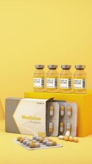 Vaccin et médicament covid-19 sur fond jaune. rendu 3d