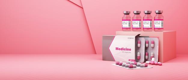 Vaccin et médicament covid-19 sur fond rose. rendu 3d