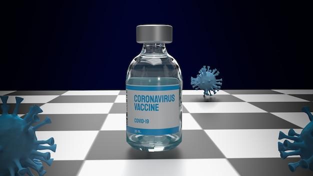 Vaccin et virus sur l'échiquier pour le rendu 3d du concept médical ou scientifique