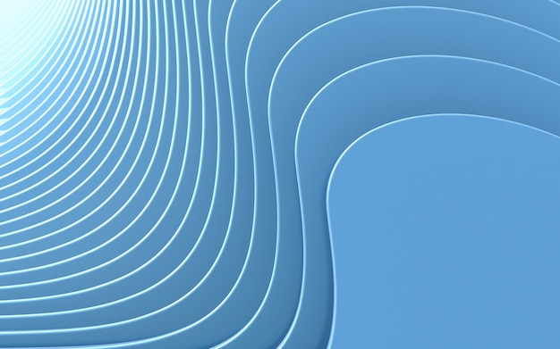 Vague bleue fond abstrait rendu 3d style design plat