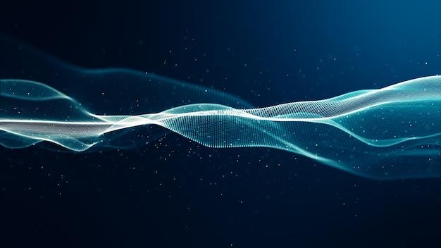 Vague de couleur bleue numérique abstraite avec mouvement de danse de petites particules qui coule sur vague et fond abstrait clair.