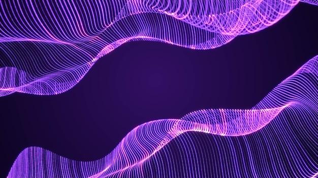Vague de grille de ligne d'énergie hologramme violet abstrait circulant dans le cyberespace, fond de technologie futuriste de surface lumineuse de particules géométriques d'art numérique de science-fiction, illustration de rendu 3d