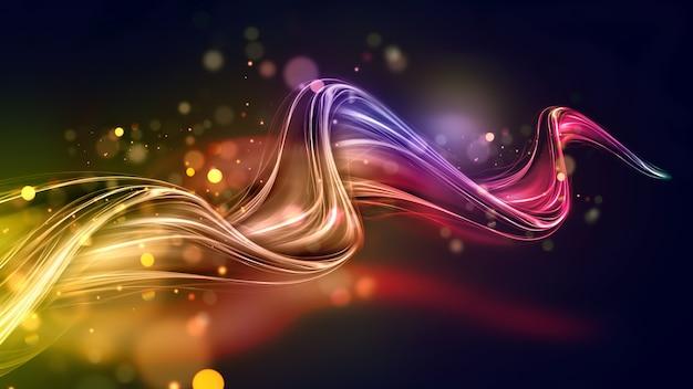 Vague multicolore abstraite lumineuse avec des lignes brillantes sur un fond sombre