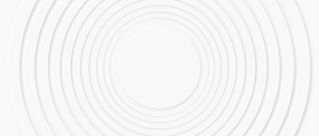 Vague de zoom de cercle de conception de neumorphisme abstrait avec espace de copie pour remplacer le logo ou le texte au centre, arrière-plan d'illustration de présentation de forme de géométrie blanche moderne