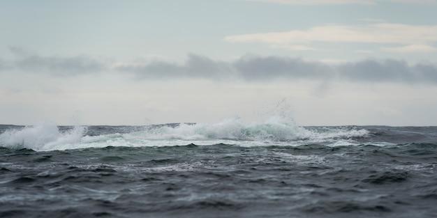 Vagues dans l'océan pacifique, district régional de skeena-queen charlotte, haida gwaii, île graham, br