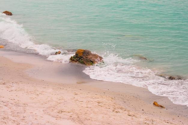Vagues et écume de mer sur une plage déserte