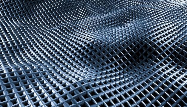Vagues de grille abstraite géométrique sur fond noir.