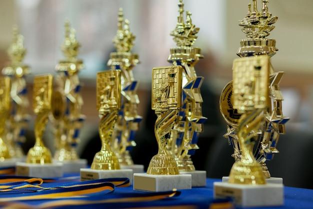Vainqueur de la coupe d'or. échecs .. émotions après la partie d'échecs